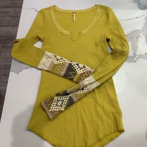 Free People Mustard Yellow Knit Thermal